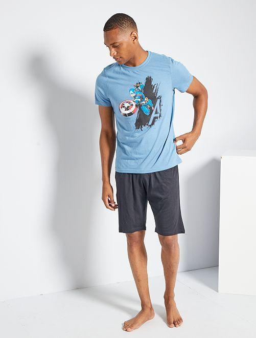 Pijama corto 'Capitán América'                                         azul/negro