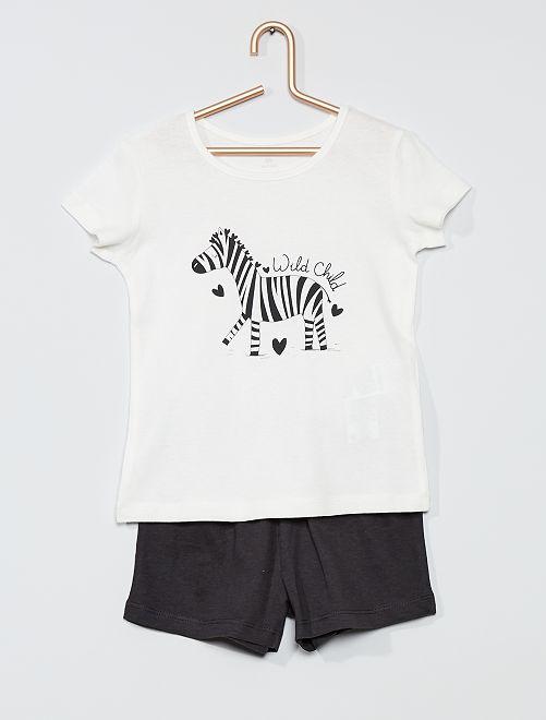 Pijama corto 'cebra'                             BLANCO