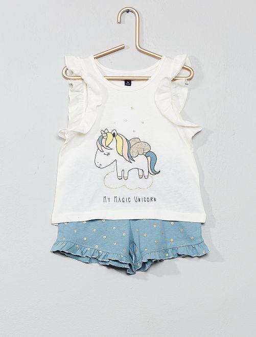 Pijama corto con brillos                             BLANCO Chica