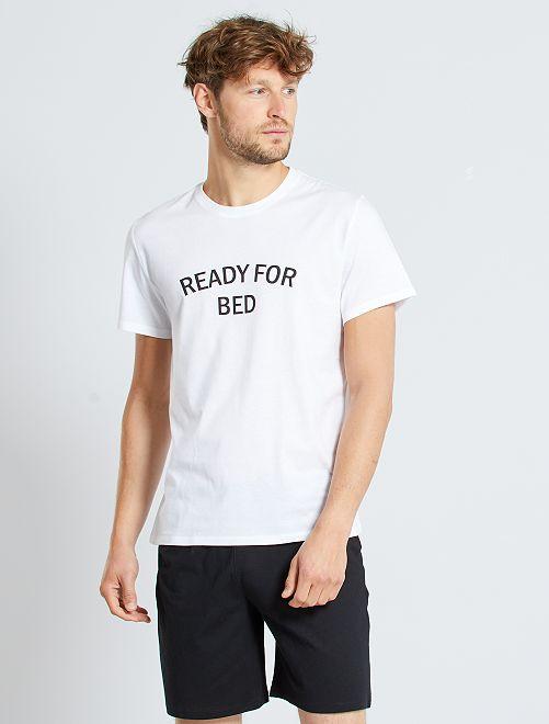 Pijama corto con mensaje                             blanco