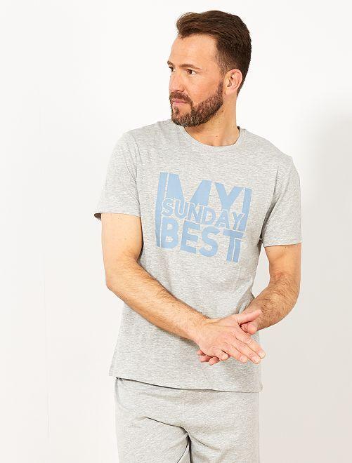 Pijama corto con mensaje                                         GRIS Hombre