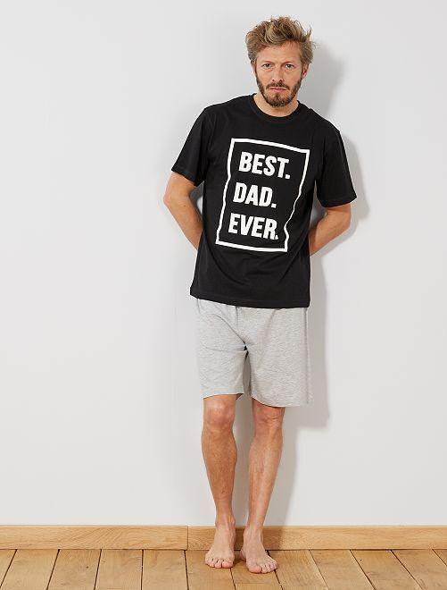 Pijama corto con mensaje                             negro/gris claro mezclado