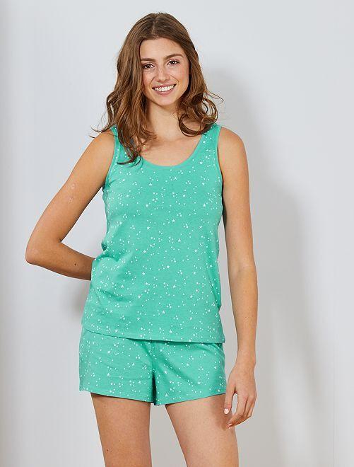 Pijama corto con motivos                                             AZUL