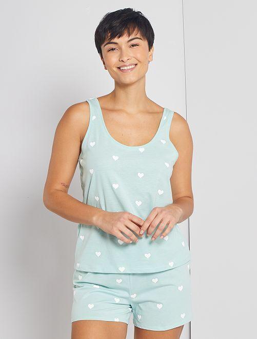 Pijama corto 'corazones'                                                                 AZUL