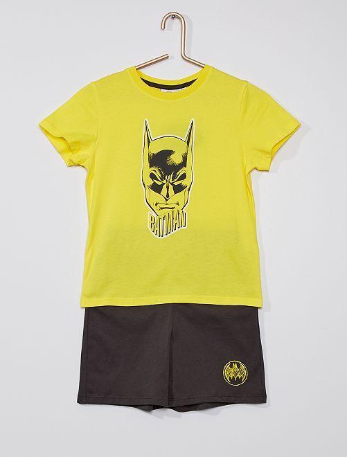 Pijama corto de algodón 'Batman' 'DC Comics'                             amarillo/gris
