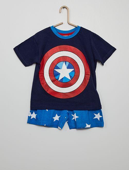 Pijama corto de algodón 'Capitán América' 'Marvel'                             marino/azul