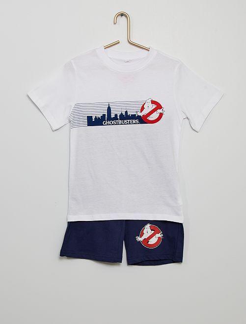 Pijama corto de algodón 'Cazafantasmas'                             blanco/negro