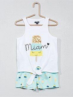 Pijamas - Pijama corto de algodón con estampado de helado - Kiabi