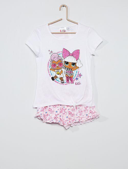 Pijama corto de algodón 'Lol Surprise'                                         blanco