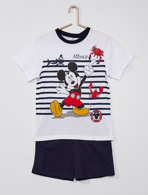 Pijama corto de algodón 'Mickey' 'Disney'                                         blanco/azul