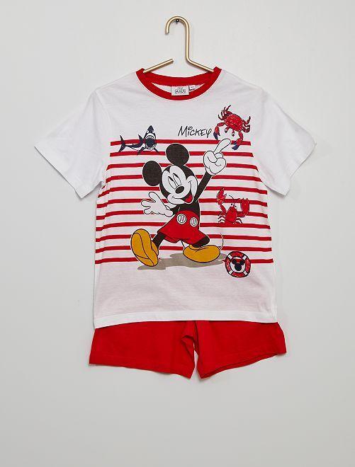 Pijama corto de algodón 'Mickey' 'Disney'                     blanco/rojo