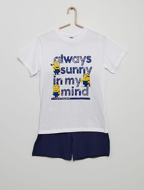 Pijama corto de algodón 'Minions'                             blanco/negro