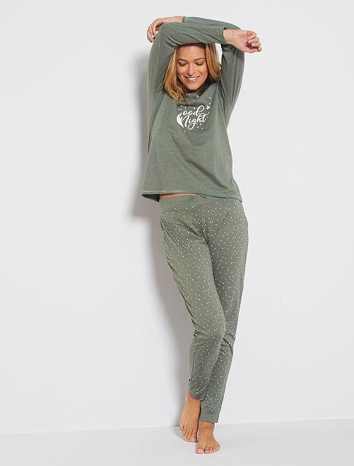Pijama corto de algodón orgánico                                                                 KAKI