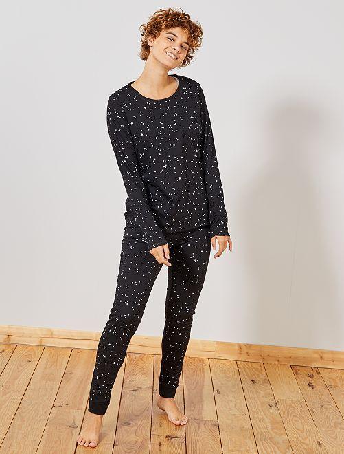 Pijama corto de algodón orgánico                                                                 negro
