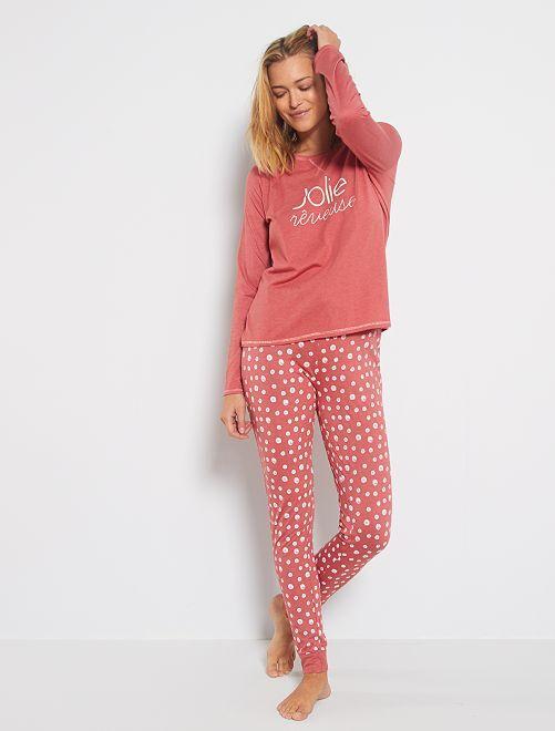 Pijama corto de algodón orgánico                                                                 ROSA