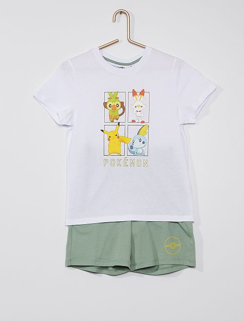 Pijama corto de algodón 'Pokemon'                             blanco/verde