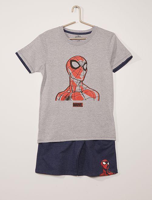 Pijama corto de algodón 'Spider-Man' 'Marvel'                             gris/azul