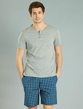 Pijama corto de cuadros - Kiabi