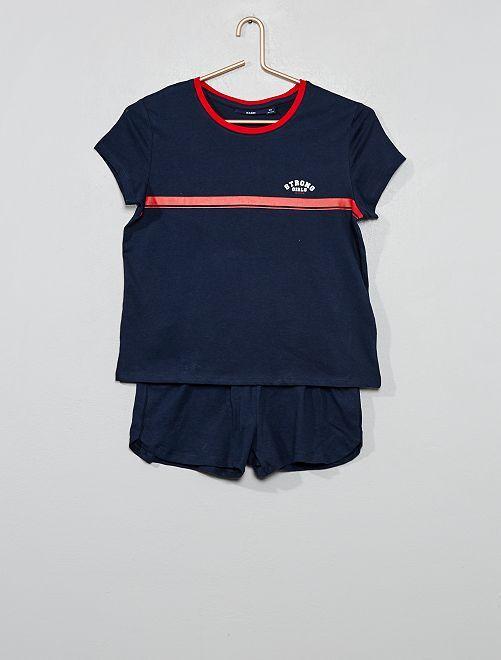 Pijama corto de punto                                 AZUL Joven niña
