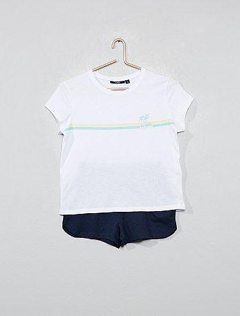 91558f951 Niña 10-18 años - Pijama corto de punto - Kiabi