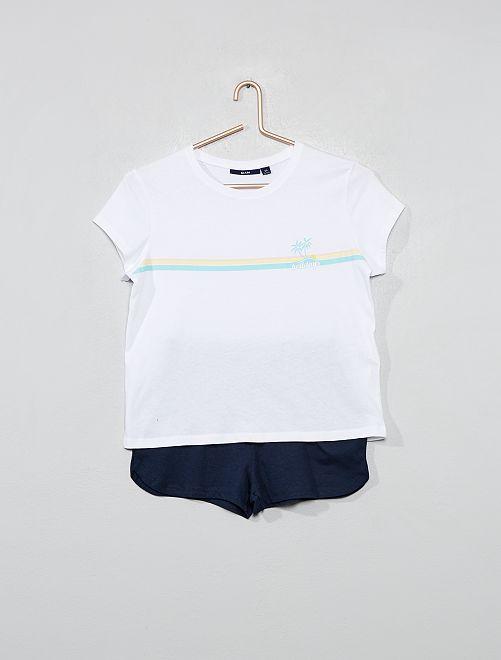 Pijama corto de punto                                                     ROSA Joven niña