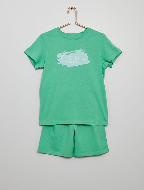 Pijama corto de punto                             VERDE