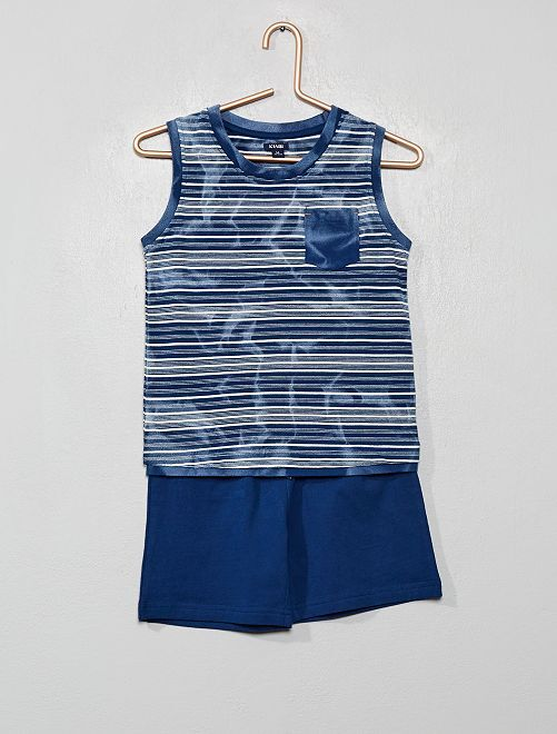 Pijama corto de rayas                             azul