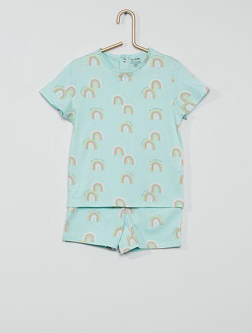 Pijama corto eco-concepción                                                                 AZUL