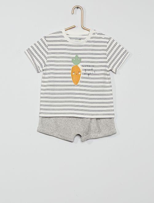 Pijama corto eco-concepción                                         BLANCO