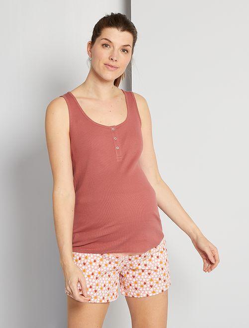 Pijama corto eco-concepción de premamá                                         ROSA