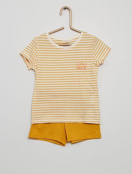 Pijama corto eco-concepción                                                     NARANJA
