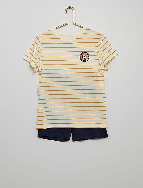 Pijama corto eco-concepción                                                                             rayas amarillo