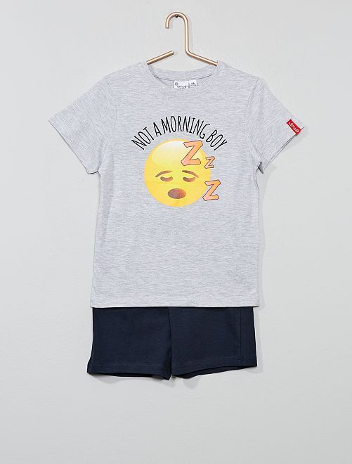 Pijama corto 'emoji'                             GRIS Chico