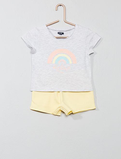 Pijama corto estampado 'arcoíris'                                         AZUL Chica
