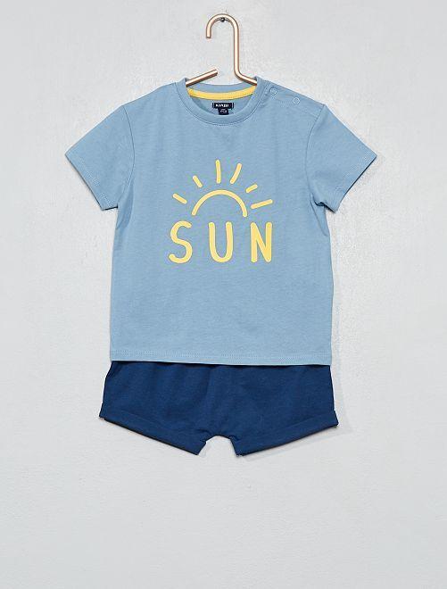 Pijama corto estampado                                         AZUL Bebé niño