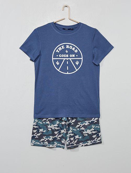 Pijama corto estampado                                                                 AZUL Joven niño
