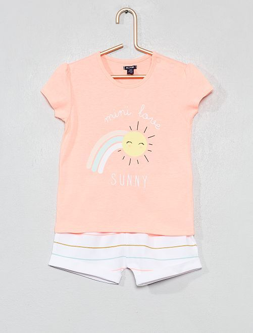 Pijama corto estampado                                         BLANCO Bebé niña