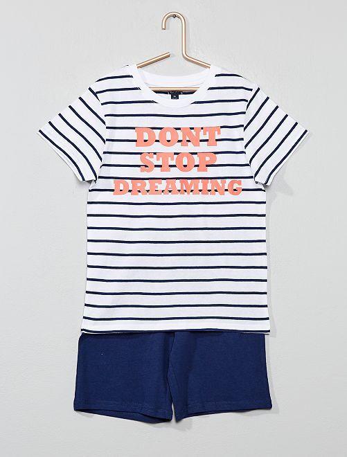Pijama corto estampado                                                                 BLANCO Chico