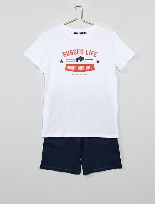 73cb410df Pijama corto estampado Joven niño - BLANCO - Kiabi - 10
