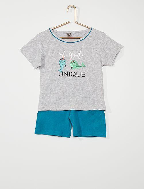 Pijama corto estampado con brillos                                         gris/azul