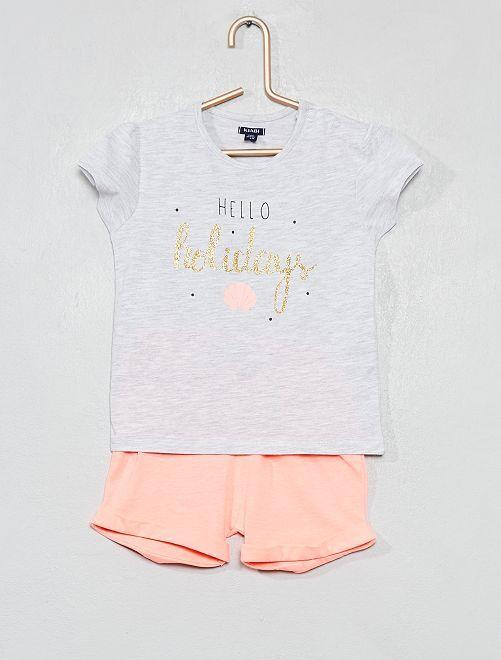 Pijama corto estampado                                         GRIS Bebé niña