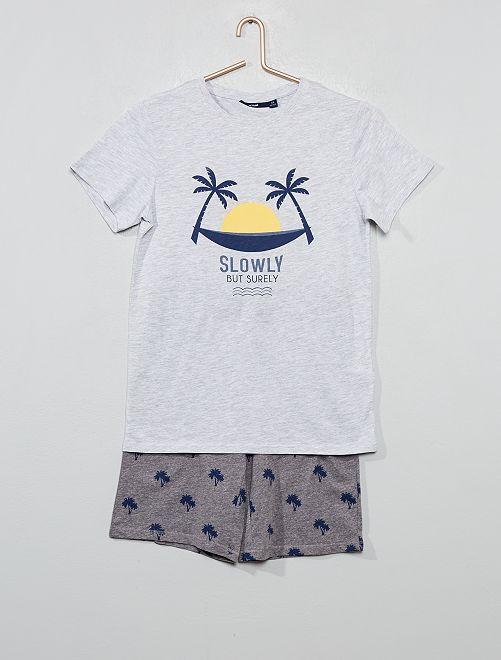 Pijama corto estampado                                                         GRIS Joven niño