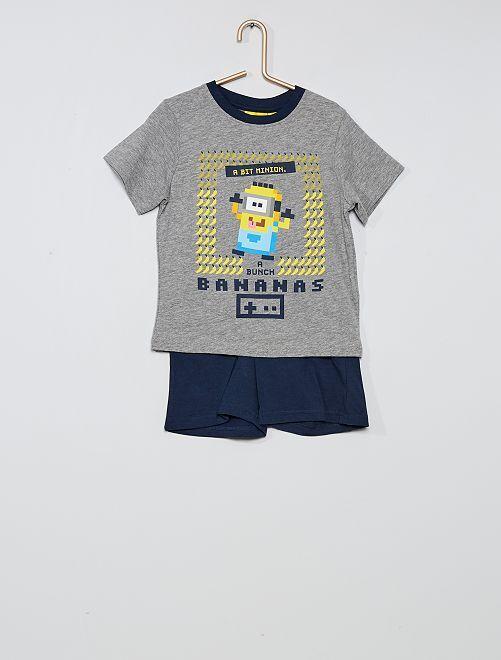 Pijama corto estampado 'Minions'                     gris/marino