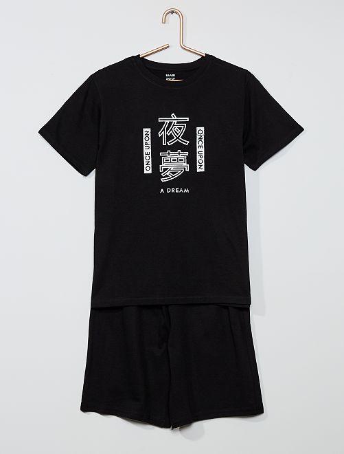 Pijama corto estampado                             NEGRO