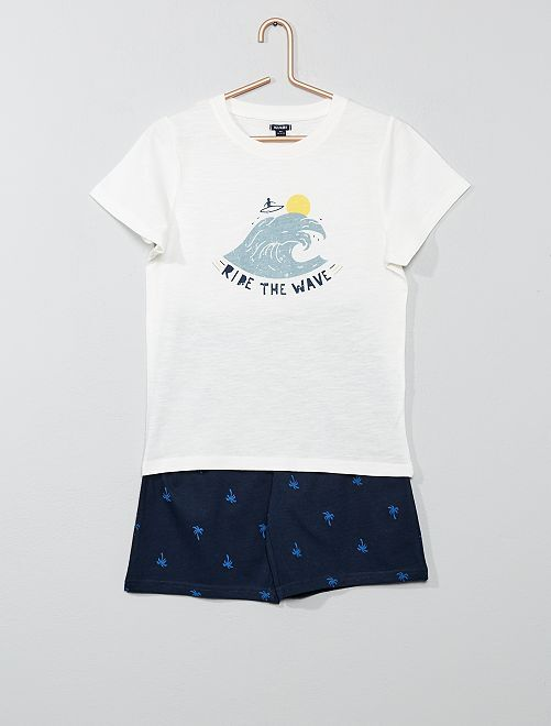 Pijama corto estampado 'playa'                                         BLANCO Chico