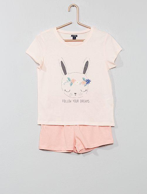 Pijama corto estampado                                                                 ROSA Chica