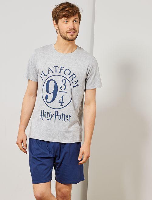 Pijama corto 'Harry Potter'                             gris chiné/azul marino