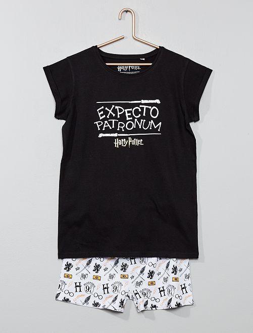 Pijama corto 'Harry Potter'                             negro/blanco Chica