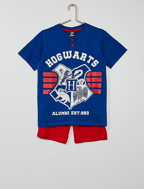 Pijama corto 'Hogwarts' 'Harry Potter'                             azul/rojo