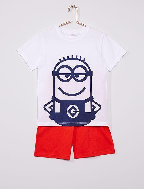 Pijama corto 'Los Minions'                             blanco/rojo